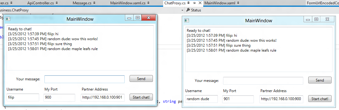 Build p2p chat application with WPF and ASP NET Web API