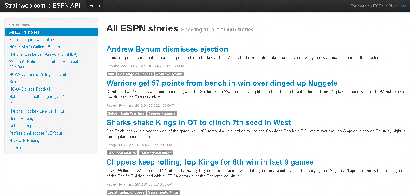 Your own sports news site with ESPN API and Knockout js | StrathWeb