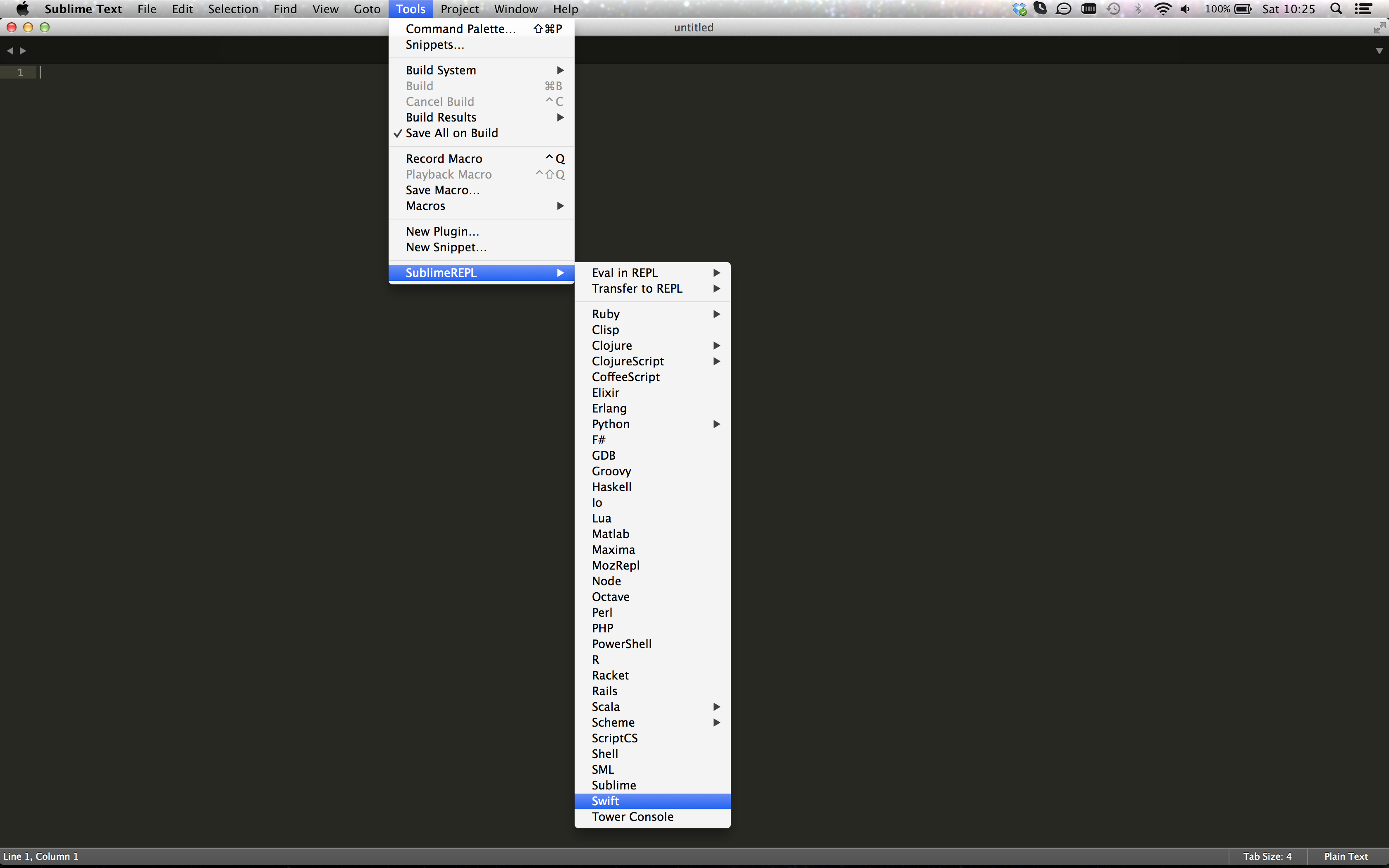Using Swift REPL from Sublime Text | StrathWeb  A free flowing web